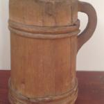 Tankard, early treen tankard with interlocked bands in old dry surface.  Height 11""